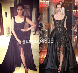 Wholesale Two Split Skirts - 2016 Elie Saab Sonam Kapoor Occasion Prom Gowns Hot Sexy Black Lace Pearls Crystal over skirts Split Evening Dresses Dubai Saudi Arabic