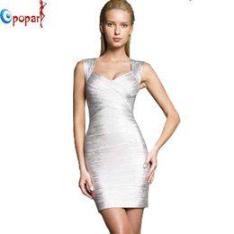 Wholesale Drop Ship Celebrity - Wholesale-Women New Fashion Silver Spaghetti Strap Bandage Dress Foil Gold and Silver Colors Celebrity Prom Dress Drop Shipping HL1522