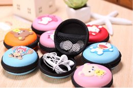 Wholesale Earphones Kawaii - 33 Style Available Kawaii Cartoon Candy Color Silicone Coin Purse Key Wallet Earphone Organizer Box FOD