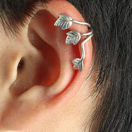 Wholesale Earrings Cuffs For Men - 2 colors styles 2015 European And American Fashion Punk Style silver and gold charm Leaves Earring Ear Clips Ear Bones Clip For Men and Wome