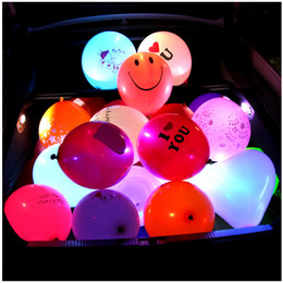 Wholesale Font Lights - 20 Pcs Colorful Luminous Balloon Led Lights Flashing Light Balloon Wedding Decoration Layout Latex Balloon With Font Logo 12inch