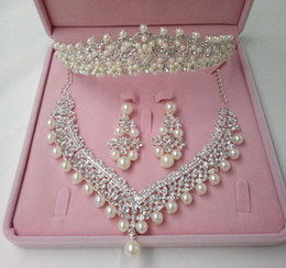Wholesale Indian Jewelry Tiara - 2016 Fashion Crown Tiara Imitation Pearls Plated Crystal Choker Necklaces Earrings Jewelry Sets For Wedding
