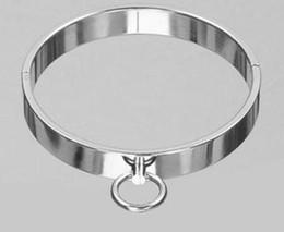 Wholesale Metal Bondage Collars - Adult sex toys SM collar stainless steel collar Neck ring collar metal stainless steel bondage