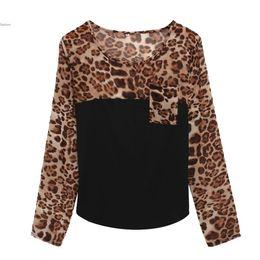 Wholesale Ladies Blouses Leopard Print - High Street Blusas Femininas Women Blouse Ladies Long Sleeve Leopard Print Chiffon Blouses Patchwork Shirt for Women 41