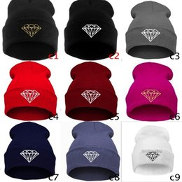 Wholesale Rain Gardens Design - 9 Colors Popular Hip-hop Diamond Beanies Spring Or Fall Warm Knitted Jazz Hats Unisex Design Wool Skull Caps Mix Colors
