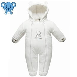 Wholesale Warm Newborn Baby Snowsuit - Wholesale-Baby Snowsuit Baby Winter Clothes Cotton Hooded 3-12 Months White Bear Warm Baby Winter Overalls Newborn Snowsuit #66-70 61