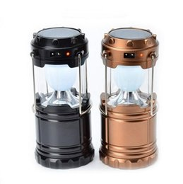 Wholesale Tent Christmas Lights - Rechargeable Camping Light Collapsible Solar Outdoor Camping Hiking Lantern Tent Lights LED Waterproof Hand Lamp OOA3725