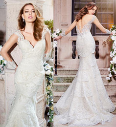 Wholesale Slim Fitting Mermaid Bridal Dresses - lace mermaid wedding dresses 2016 strap v neckline embroidery slim cut fit flare trumpet beautiful sexy bridal gowns