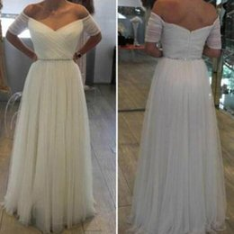 Wholesale Engagement Short Dress - Simple Elegant Off the Shoulder Ruched Tulle Evening Gowns Floor Length Reception Dress Stunning Engagement Dresses with Crystals Prom Gown