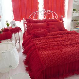 Wholesale Modern Pillow Shams - wedding red color luxury lace bedding sets twin full queen king size duvet cover bedskirt Pillow sham 4pc bedclothes set