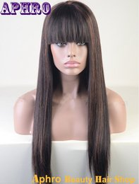Wholesale Cheap Full Lace Bang - Cheap Long Silky Straight Brown Mix Black Silk Top Brazilian Hair Lace Front Wigs 130%Density Glueless Full Lace Human Hair Wigs With Bangs