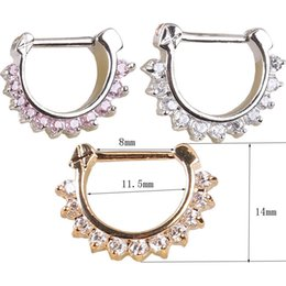 Wholesale Clear Body Jewelry - nose clicker body piercing jewelry Gold Pink Clear Nose Ring plating nose septum