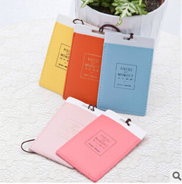 Wholesale Wholesale Carry Luggage - 2015 Leather Luggage Tags Travel Paper Suitcase Tag Carrying case Tag Packet Label Wrap Easily recognizable Bag Parts With lanyard