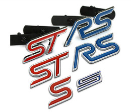Wholesale Rs Emblem Metal - Blue Red Chrome Metal S RS ST Car Grille Styling Emblem Badge 3D Car Sticker Refitting Decal for FORD Focus Mondeo Accessory 1608