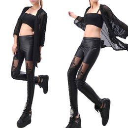 Wholesale Tights Pants Leather - S5Q PU Leather Slim Lace Leggings Pants Sexy Womens Lace-Up Tight Pencil Trouser AAAELH