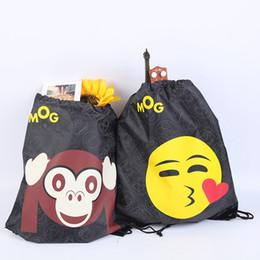 Wholesale 3d Printed Fabric - Emoji Emoticon Drawstring Backpacks 40*35cm 3D Print Black Sackpack Sport Drawstring Storage Bags 12 Styles OOA3378