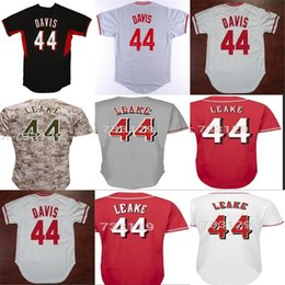 Wholesale Camo Cheap - 2017 Factory Outlet Mens Womens Youth Cincinnati 44 Eric Davis 44 Mike Leake 1990 Throwback White Red Grey Camo Cheap Baseball Jerseys
