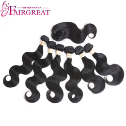 Wholesale Remy Virgin Hair Extensions - Fairgreat Remy Human hair 6 Bundles body wave With Closure Human Hair Bundles With Lace Closure Virgin Brazilian human hair Extensions