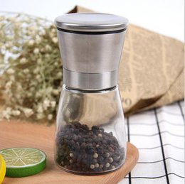 Wholesale Glass Spice Grinder - Stainless Steel Salt And Pepper Mill Glass Body Spice Salt and Pepper Grinder Kitchen Accessories Cooking Tool