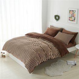 Wholesale Fleece Sheet Set Full - Wholesale- coffee stripe fleece thick bedding set twin queen king size winter warm bed cover duvet cover set bed fit sheet christmas gift
