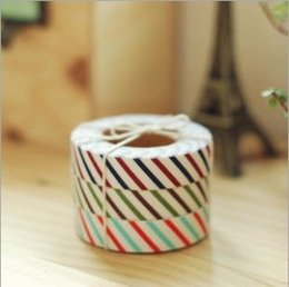 Wholesale Lovely Fabric Tape - 3 pcs lot Colorful DIY Fabric CuteDecoration Tape lovely Gift 15mm*5m high quality Free shipping 913