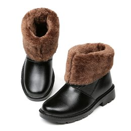 Wholesale Pull Boots - US Size Top Leather Pull On Fur Lined Waterproof Mid-calf Snow Boots Mens Winter Warm Plush Shoes