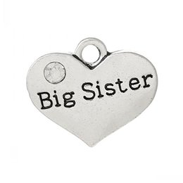 """Wholesale big sister silver charm - Jewelry Findings Charm Pendants Heart Antique Silver """"Big Sister""""Carved Clear Rhinestone 17mm x 14mm,20PCs"""