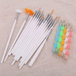 Wholesale Brushes Acrylics - Fashion Painting Dotting Detailing Nail Pen Brushes Bundle Tool Kit Set with Case nail tools Nail Art Pen 20pcs set H13153
