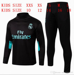 Wholesale Football Collar - kids TOP QUALITY new 17-18 Real Madrid kids soccer chandal BLACK football tracksuit 2017-2018 training suit pants High collar Sportswear