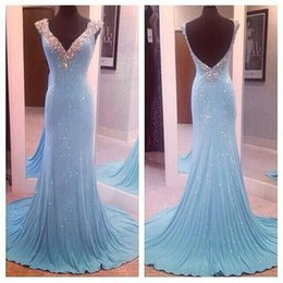 Wholesale Glitter Chiffon Prom Dress - Luxury Glitter Light Sky Blue Evening Dresses 2016 Bling Crystals V Neck Shiny Sequins Beaded Collar Backless With Sweep Train Prom Dresses