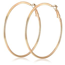 Wholesale Steel Huggie Earrings - Titanium Steel Big Circle Huggie Hoop Earrings Trendy Gold Exaggerated Big Earrings For Women Mixed 50mm-100mm Size Wholesale