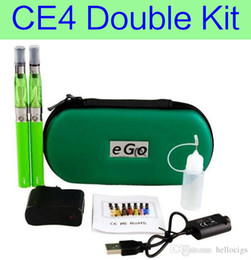 Wholesale Ego Ce4 Double Starter Kits - CE4 Double kits eGo zipper case starter kit e cigs electronic cigarette CE4 atomizer 650mah 900mah 1100mah battery cig vapor vaporizer