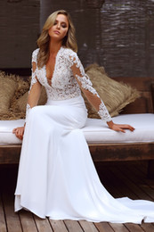 Wholesale designer style long sleeve dresses - 2018 Sexy Deep V neck Wedding Dresses Mermaid With Lace Long Sleeves Country Style Chiffon Illusion Designer Wedding Dresses Bridal Gowns
