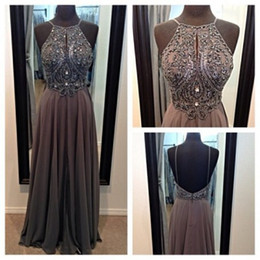 Wholesale Detailed Formal Dresses - Long Backless Cheap Prom Dresses 2017 with Halter Neckline and Beads Detail Elegant Chiffon Formal Dresses Party Evening Gowns BO5505