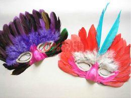 Wholesale Mask Plume - Wholesale-20pcs lot Italy Men's Plume Feather Party Masks, Sexy Secret Venice Eyeshade Masks For Wedding Birthday Festival Party Decors