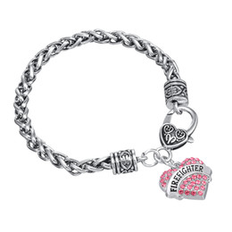 Wholesale firefighter gifts - Fashion Special Design Rhodium Plated Alphabet FIREFIGHTER Thick Link Chain Heart Crystal Pendant Sliver Color Bracelets
