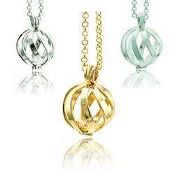 Wholesale Brass Chimes - Fashion Pendants Necklace Baby Caller Chime Music Bells Ball 3 Color Pierced Spiral Necklace For Women Jewelry