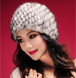 Wholesale Head Hand Warmers - Wholesale-Hand made 100% Real mink fur hat Striped pineapple cap for women in winter Beanie ski cap head warmer as gift