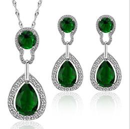 Wholesale Earring Korean Mix - Drop Zircon Jewelry Sets Alloy set   necklace + earrings Korean Jewelry set norble jewelry for women JS100370