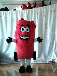 Wholesale Garbage Costume - Happy Red Garbage Trash Can Ash-Bin Waste Bin Waste Container Mailbox Pillar Letterbox Postbox Mascot Costume Red Body