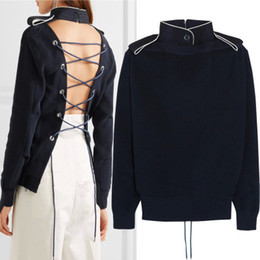 Wholesale Club Computer - Brand Designer Corset Back Sweaters 2017 Falll Fashion Women Stand Collar Lacing Up Back Party Cocktail Clubs Knitted Tops Pullover Knitwear