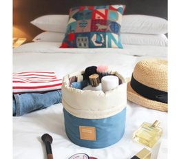 Wholesale Washing Wire - Barrel Shaped Travel Cosmetic Bag Nylon High Capacity Drawstring Elegant Drum Wash Bags Makeup Organizer Storage Bag Hot