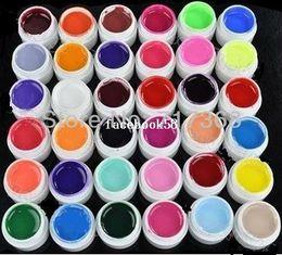 colorido uv unha gel Desconto Frete Grátis 36 pcs Cores Pure Color gel uv, Uv gel Set, Builder Gel para nail art