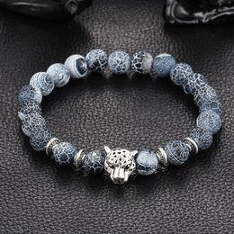 Wholesale Bracelet Animal Leopard - Wholesale Antique Silver Plated Buddha Leopard head Bracelet Lava Natural Stone Beaded Bracelets For Men Women