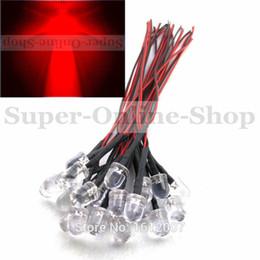 Wholesale Prewired Leds - 20 pcs Red 5V 6V 7V DC 20CM 10MM Leds Emitting Diode Prewired Round Top Color Led Lamp Light For car DIY project