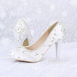 Wholesale Shoe Pageant - 2016 Crystal Wedding Shoes White Satin Color Banquet Pageant Dress Shoes Round Toe Platforms Women Shoes Valentine Party Pumps