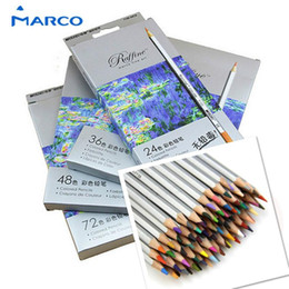 Wholesale Marco Pencil - Marco 72pcs Color Pencil lapis de cor Professional Non-toxic Lead-free Colored Pencil School Supplies Painting Pencils 1511