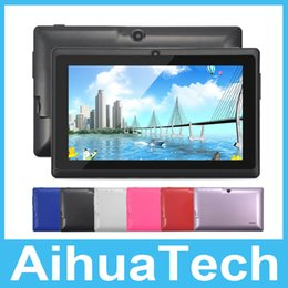 Wholesale Cheap Touch Screen Tablets - Cheap Q88 7 inch A33 HD 1024*600 Quad Core 512MB 8GB Dual Camera Wifi Android Tablet PC Free DHL Shipping