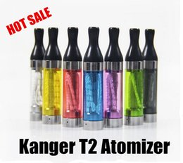 Wholesale Resistances T2 - Kanger T2 Atomizer Long Wick T2 Clearomizer 2.4ml 1.5-2.5ohm Resistance CC Clear Cartomizer 5 Pack 510 EGO Battery FREE SHIP