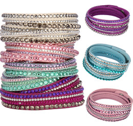 Wholesale Pave Link Chain Wholesale - Women Leather Wrap Bracelet Sparkling Cystal Paved Genuine Leather Multilayers Wrapped Wristband For Women Assorted Colors